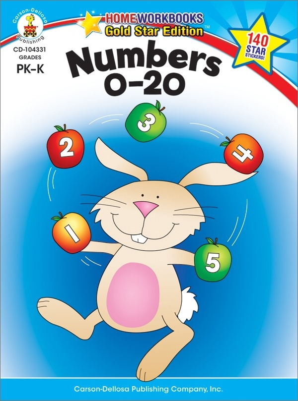 Numbers 0 - 20 (Pk - K) Home Workbook - Gold Star Edition