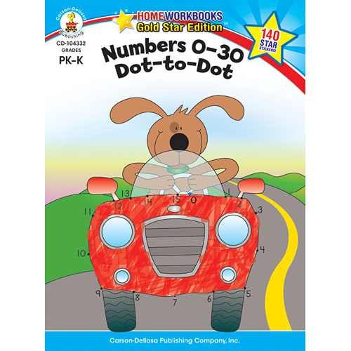 Numbers 0 - 30: Dot-To-Dot (Pk - K) Home Workbook - Gold Star Edition