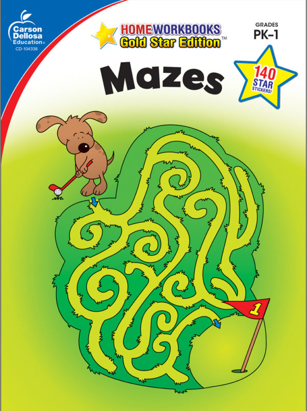 Mazes (Pk - 1) Home Workbook - Gold Star Edition
