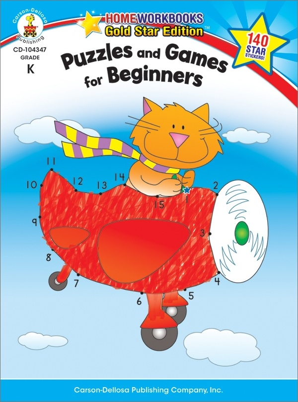 Puzzles And Games For Beginners (K) Home Workbook - Gold Star Edition