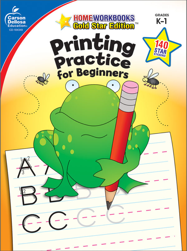 Printing Practice For Beginners (K - 1) Home Workbook - Gold Star Edition