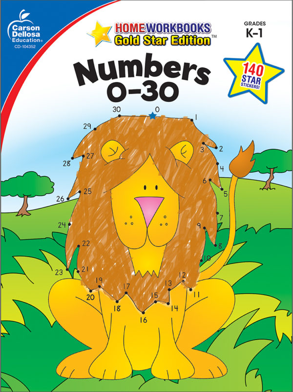 Numbers 0 - 30 (K - 1) Home Workbook - Gold Star Edition
