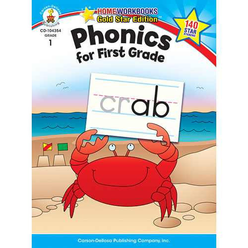 Phonics For First Grade Home Workbook - Gold Star Edition
