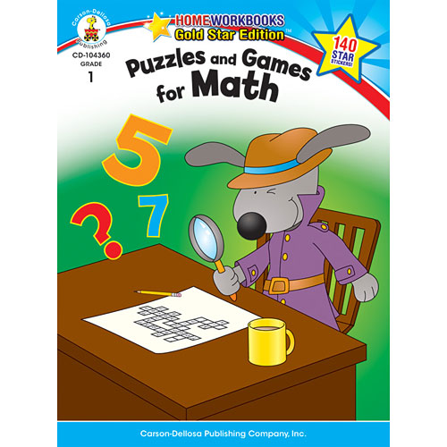 Puzzles And Games For Math (1) Home Workbook - Gold Star Edition