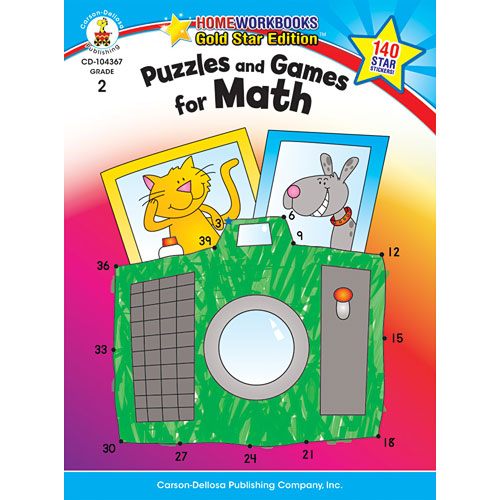 Puzzles And Games For Math (2) Home Workbook - Gold Star Edition