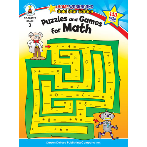 Puzzles And Games For Math (3) Home Workbook - Gold Star Edition