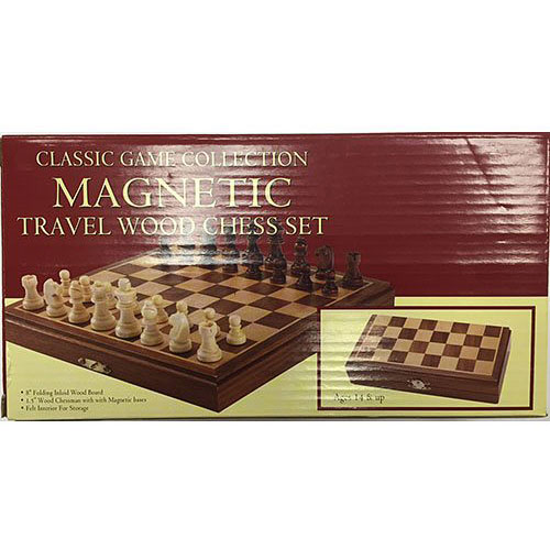 "Travel Magnetic Wood Chess Set, 8"""