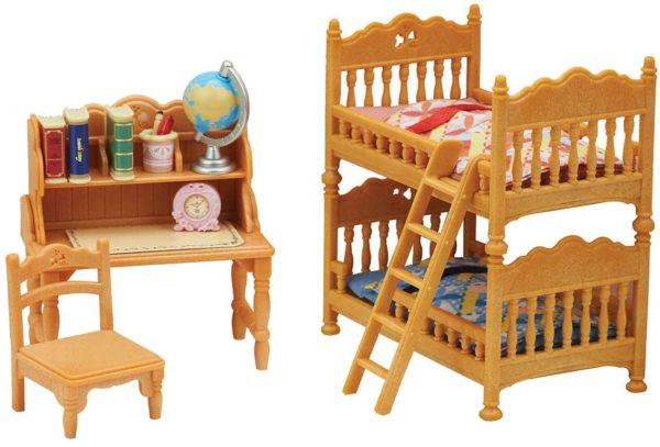 calico critters children's bedroom set  purple cow toys